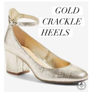 NWT BP Gold Crackled Ankle Straps Size 5.5